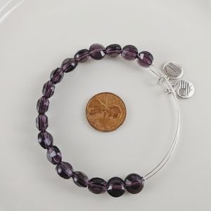 Alex and Ani Silver Amethyst Luxe Beaded Bracelet